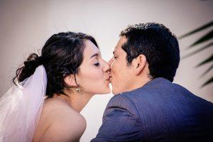 marriage week - bride and groom kissing