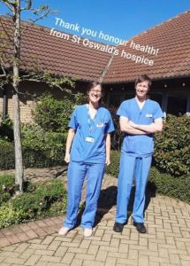 Honour Health donating scrubs to St Oswald's Hospice